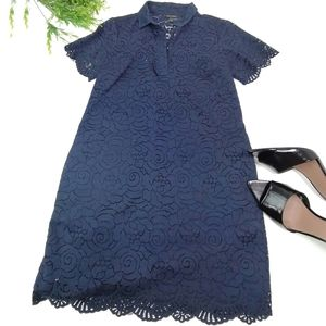Banana republic floral lace navy casual shirt dres